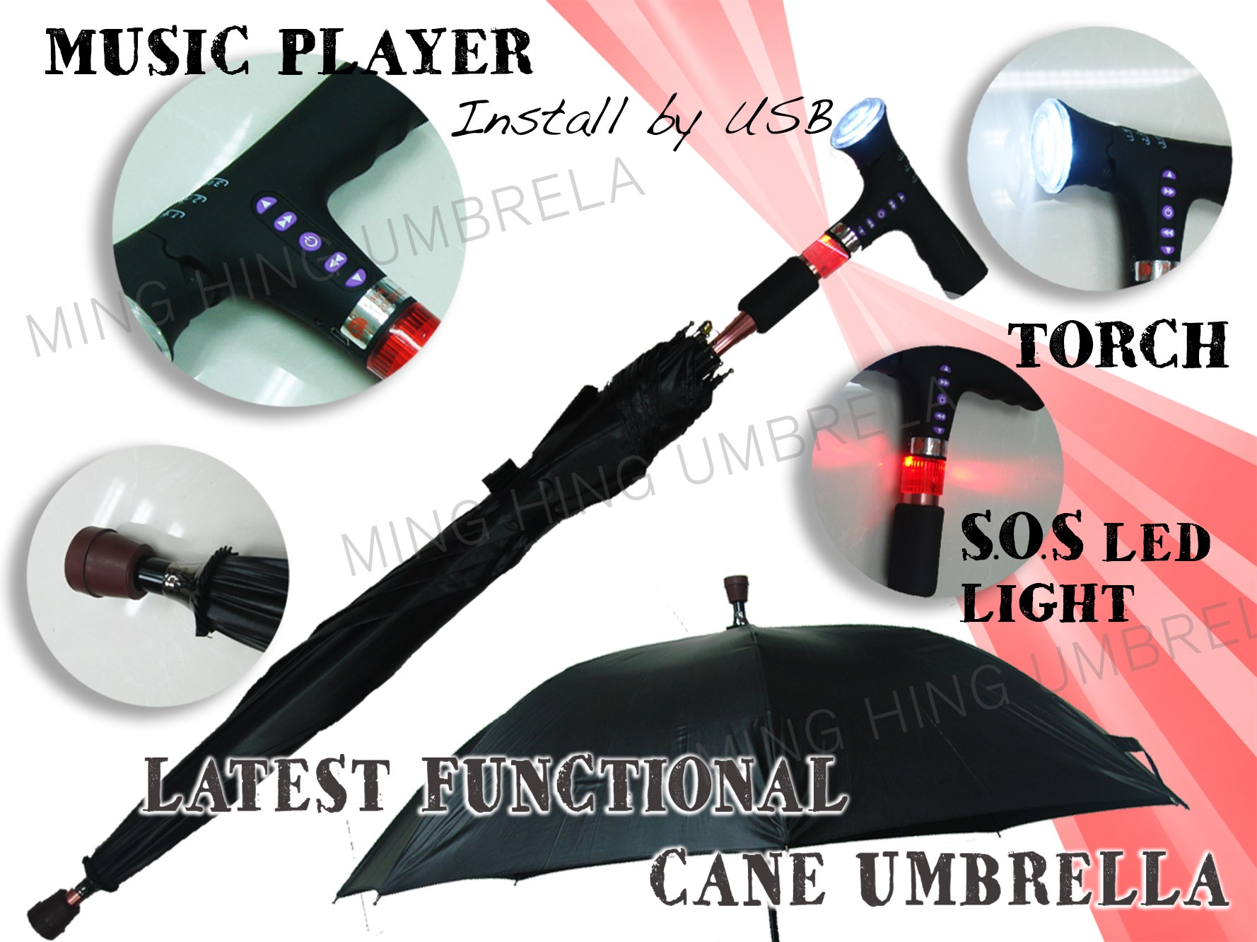Automatic open Hiking Cane Umbrella